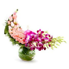 Send roses & orchids glass Vase Midnight Delivery