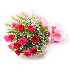 Send 10 Red & Pink roses Bunch Same Day Delivery