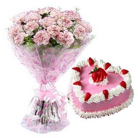 24 hrs Online Strawberry Cake n White carnations Bunch