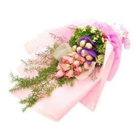 24 hrs Online Pink roses Bunch n 5 pcs Ferrero Rochers pack