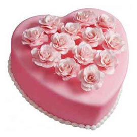 Send 1 Kg Pink Vanilla Heart Cake Online FREE home Delivery