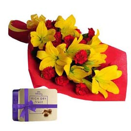 gift Online Yellow lilies Bunch n cadbury Dry Fruit collection box