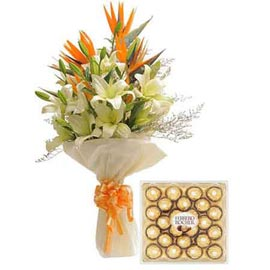 gift Online exotic bop lily Bunch n Ferrero Rocher box