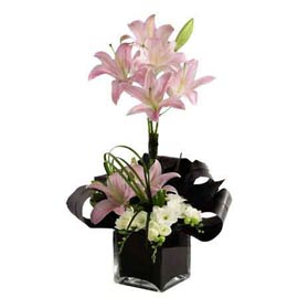 Send 5 Pink lilies glass Vase Same Day Delivery