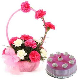 gift Online Strawberry Cake n mix carnations Basket