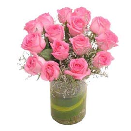 Send 15 Pink roses glass Vase Midnight Delivery
