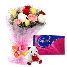 midnight Online mix roses, cute Teddy n cadbury celebration pack