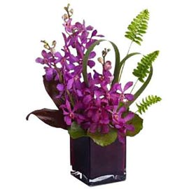 buy 10 purple orchids glass Vase Same Day Delivery
