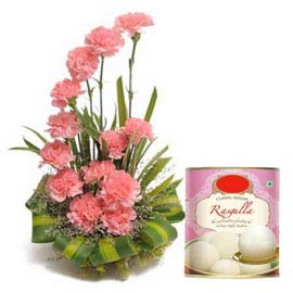 same day Online Rasgulla pack n Pink carnations Basket