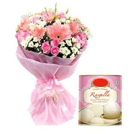 buy Online Rasgulla pack n Pink mix flowers Bunch