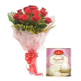 same day Online Rasgulla pack n ewd roses Bunch