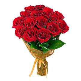 Send 10 Red roses jute packing Bunch Same Day Delivery