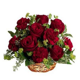 Send Red roses n carnations Basket 24 hrs Delivery