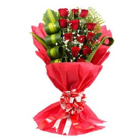 Send 12 Red roses Red paper flat Bunch Urgent Delivery