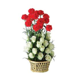 buy White roses n Red carnations cane Basket Urgent Delivery