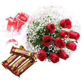 24 hrs Online Red roses Bunch n five star Chocolate