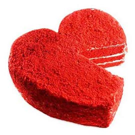 1 Kg Red Velvet Heart Midnight Cake Delivery