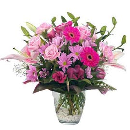 Send Pink mix flowers glass Vase Xpress Delivery