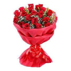 buy 20 Red roses Red paper Bunch Midnight Delivery