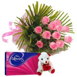 same day Online Pink roses, cute Teddy n celebration pack