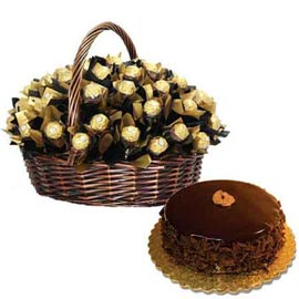 urgent Online Rocher Chocolates big Basket n Chocolate Cake
