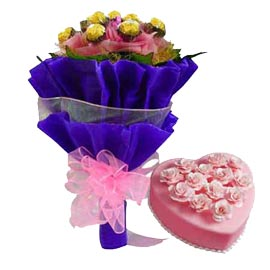 buy Online Rocher Chocolates Bouquet n Pineapple Cake