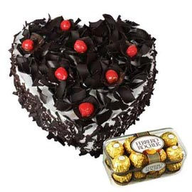 Send Online Ferrero Rocher Chocolates n 1 Kg Black Forest Heart Cake
