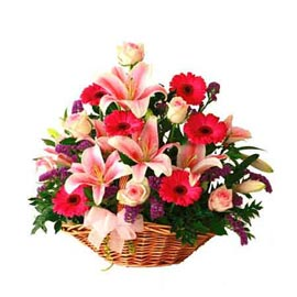 buy Pink mix flowers cane Basket Midnight Delivery