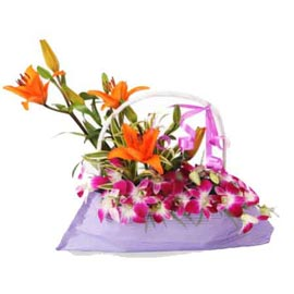 Send 8 orchids and 3 Orange asiatic lilies Basket Urgent Delivery
