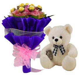 buy Online Rocher Chocolate Bouquet n 1 feet Teddy