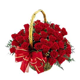Send 25 Red roses cane Basket express Delivery
