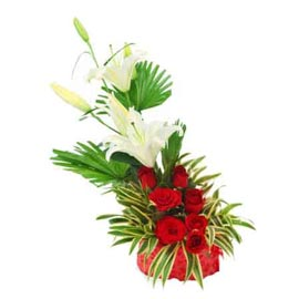 buy Red roses Pink n lilies cane Basket Midnight Delivery
