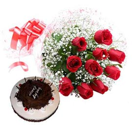 Buy Online Black Forest Cake N 10 Red Roses Bunch