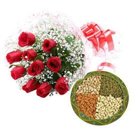 xpress Online Red roses n mix Dry Fruit pack combo Delivery