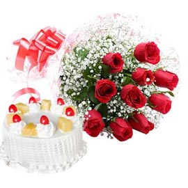 24 hrs Online 1 Kg Pineapple Cake n 10 Red roses