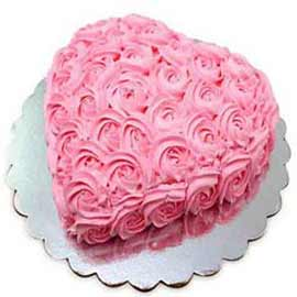 1 Kg rosey Vanilla Heart Midnight Cake Delivery