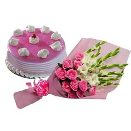 gift Online Half Kg Strawberry Cake n mix flowers Bunch