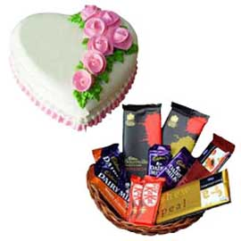 gift Online rosy Heart Cake n Assorted Chocolates Hamper