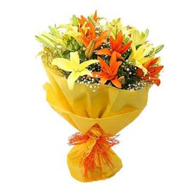 Send 6 Yellow lilies Bunch Midnight Delivery
