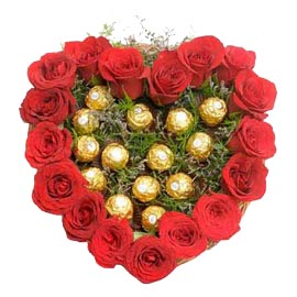 24 hrs Online Red roses Basket n Ferrero Rocher Chocolate pack