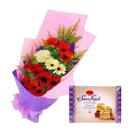 buy Online Soan Papdi n mix gerberas paper Bunch