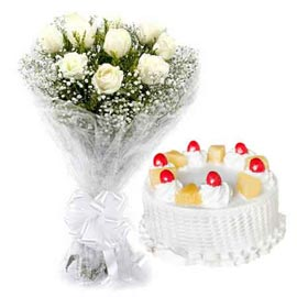 Send Online Pineapple Cake n White roses Bunch