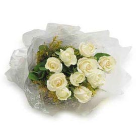buy 10 White roses Bunch Midnight Delivery