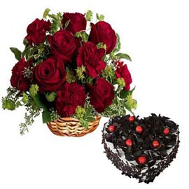 Send Online Black Forest Cake n mix Red flowers Basket