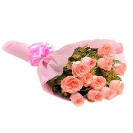 buy dozen Pink roses Pink paper Bunch 24 hrs Delivery