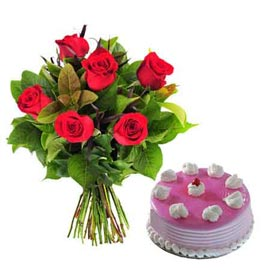 gift Online Strawberry Cake n 6 Red roses Bunch