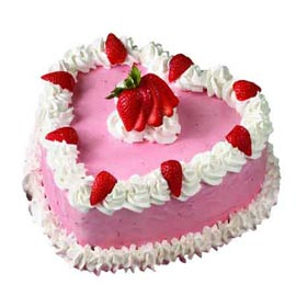 1 Kg Strawberry rich Heart Midnight Cake Delivery