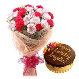 buy Online Chocolate Cake n mix carnations Bunch
