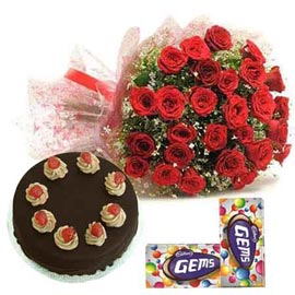 midnight Online cadbury gems, Red roses n Chocolate Cake