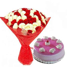 24 hrs Online Strawberry Cake n mix roses jute Bunch
